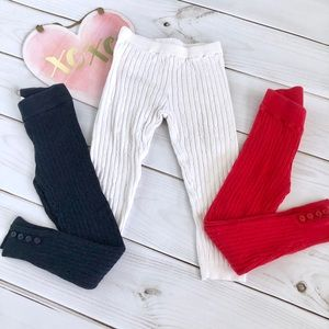 3 Pairs of Sweater Leggings, Red, Navy, and White